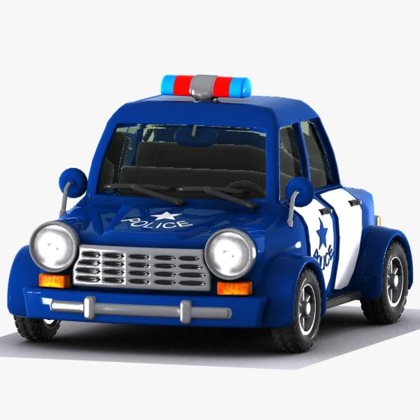 3d model cartoon police car