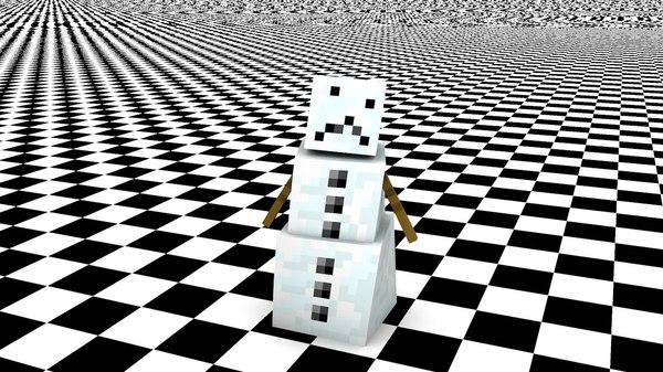 snowman minecraft 3d c4d