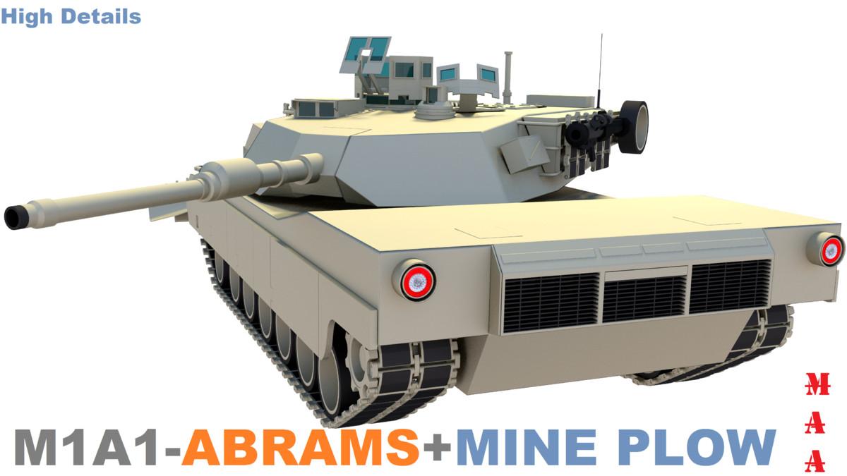 free m1a1-abrams battle tank plow 3d model