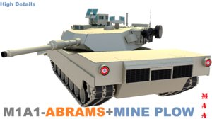 free m1a1-abrams battle tank plow 3d model