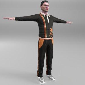 male sport player 3d model