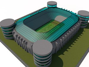 santiago football stadium madrid 3d model