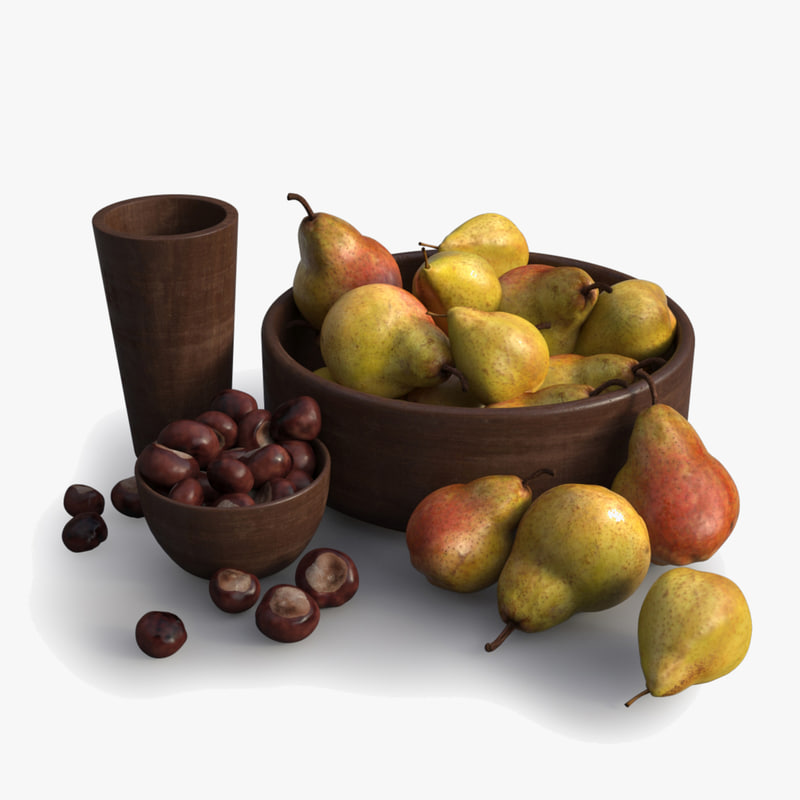3d bowls pears chestnuts