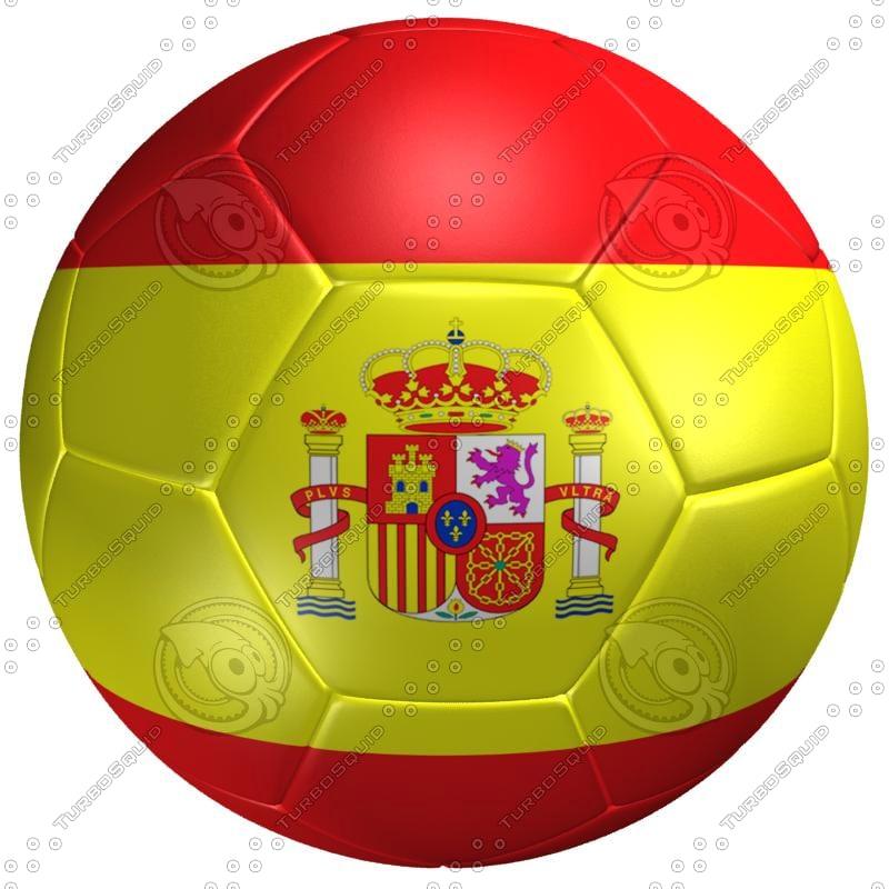 3ds max soccer ball spain flag