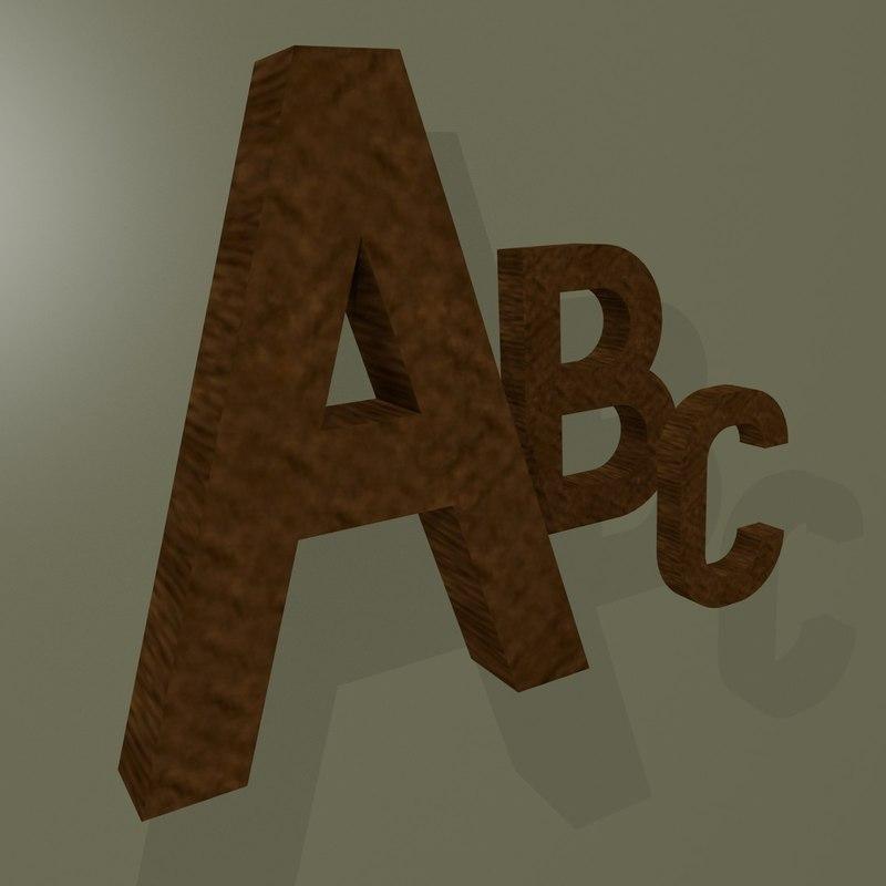 3d model characters alphabet