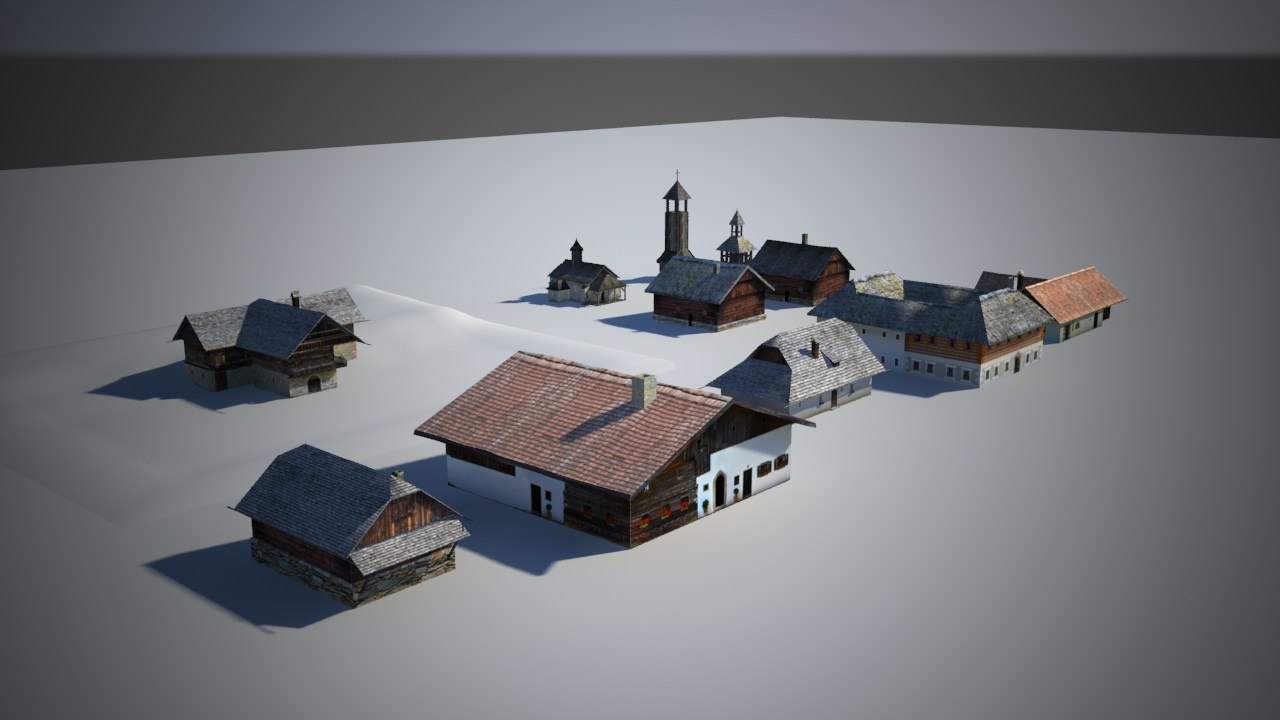 3d model of traditional games houses
