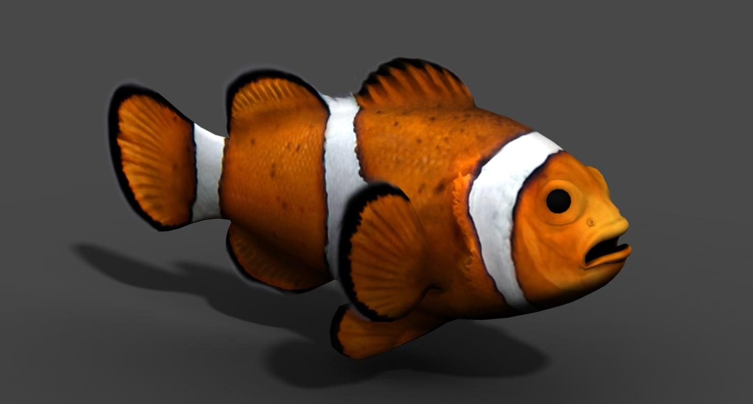 clownfish fish 3d obj