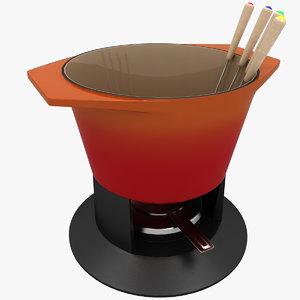 fondue pot 3d max