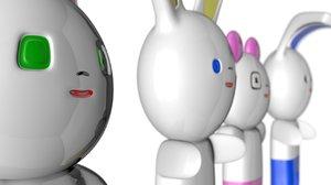 japanese style kawaii figures 3d c4d