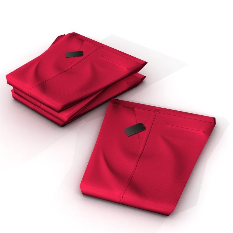 3d folded pants