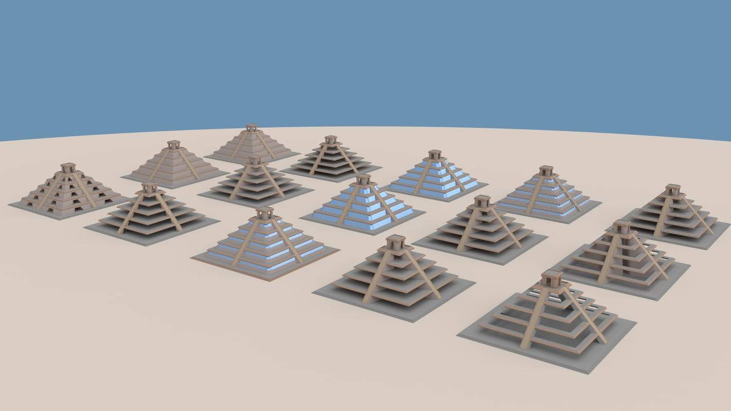 15 different step pyramids 3d model