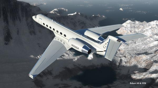 gulfstream g550 jet rigged 3d max
