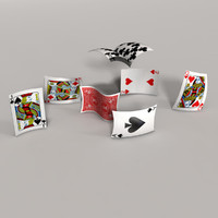 red playing cards 3d ma