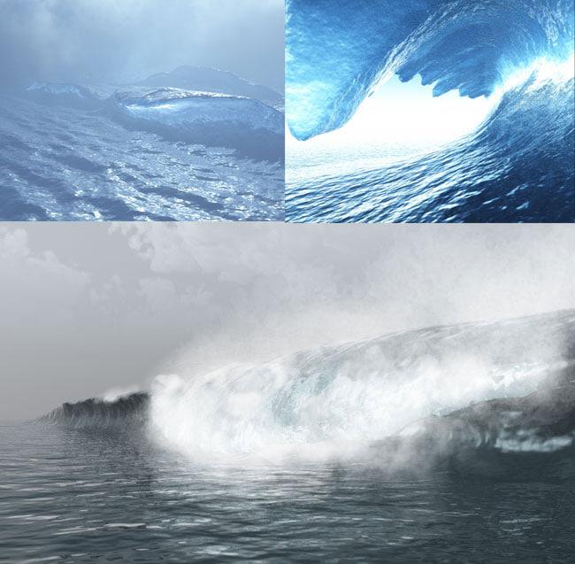 crashing waves pack bryce 3d obj