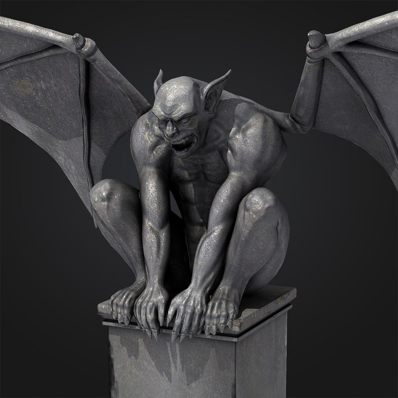 gargoyle statue 3d obj