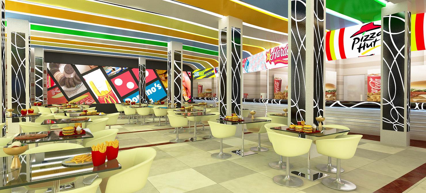 3d food court scene