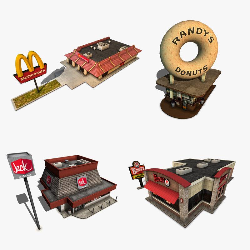 3d pack fastfood restaurants