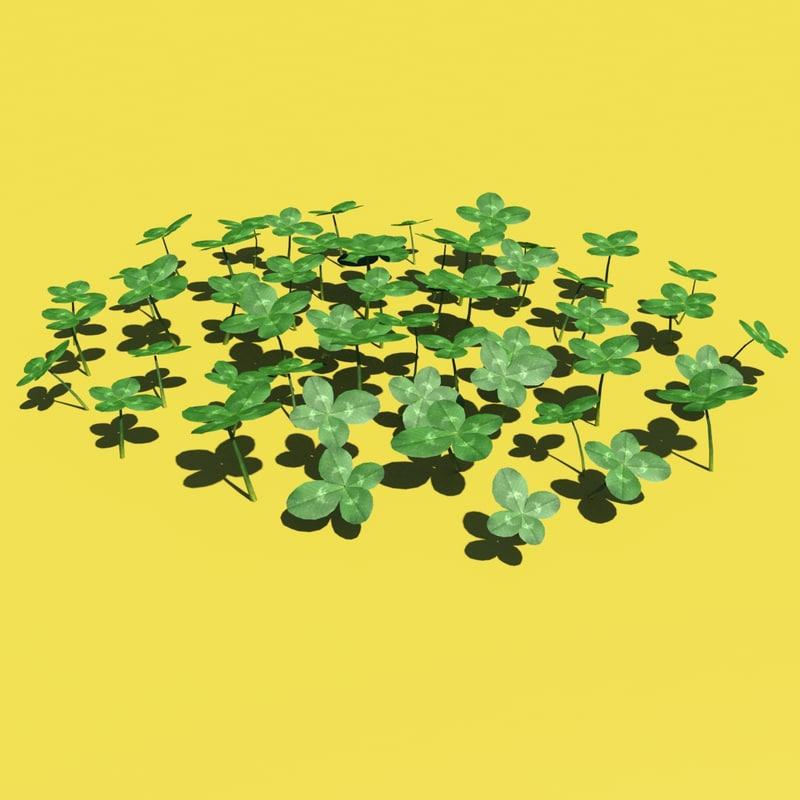 3d clovers modelled grass model