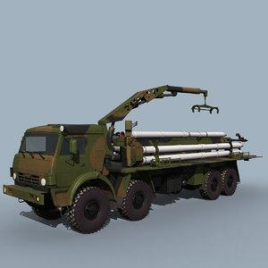 9t234-4 smerch military truck 3d model