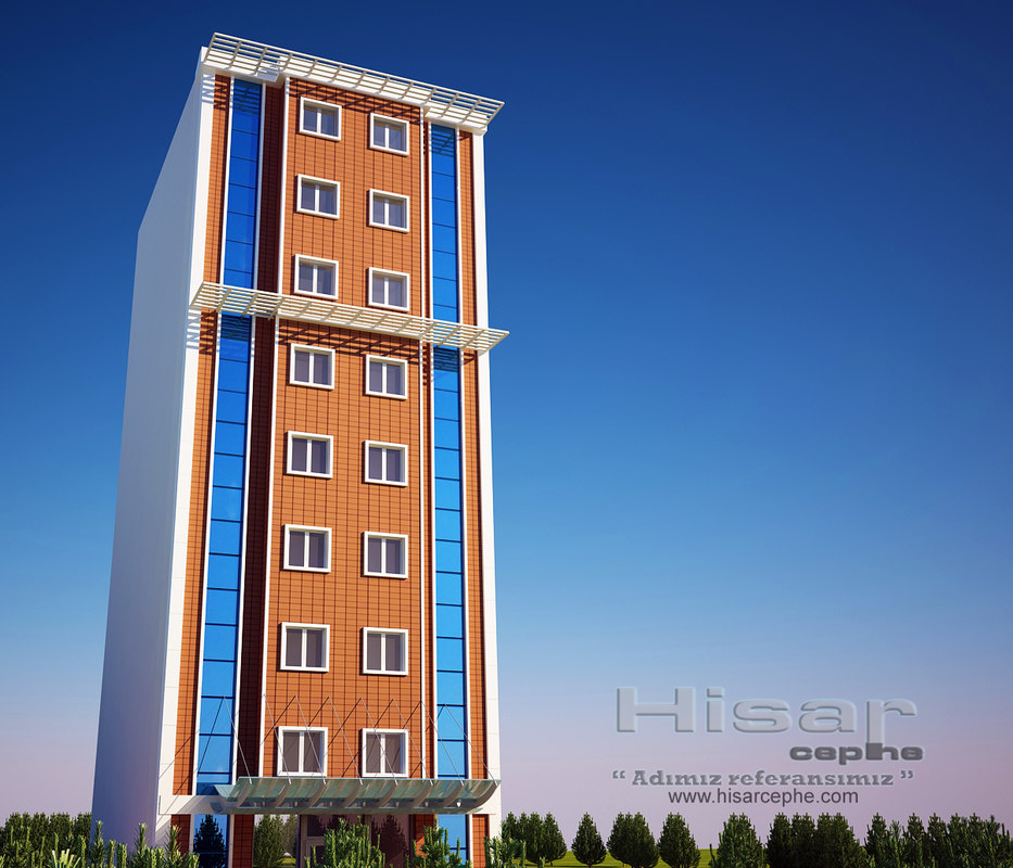 3d model hotel building curtain wall