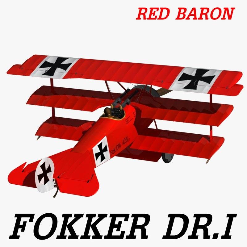 3d model fokker dr red baron