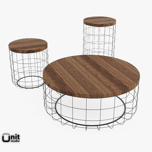 3d model 3 table wire group