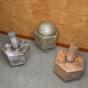 metal wood stone 3d model