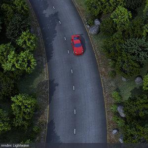 forest road scene 3d lwo