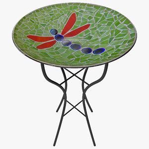 mosaic birdbath table 3d model