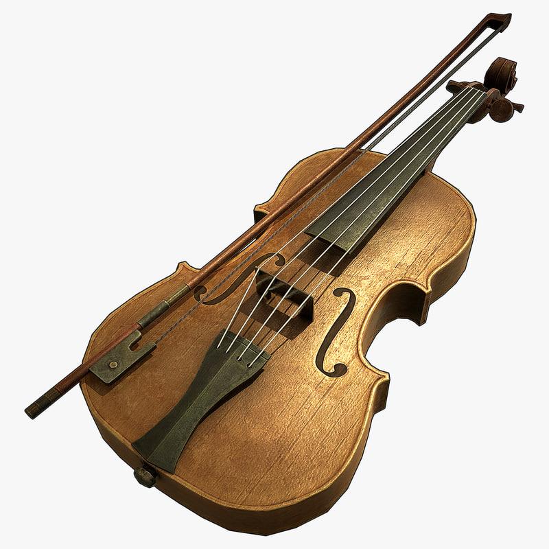 violin normal 3d model