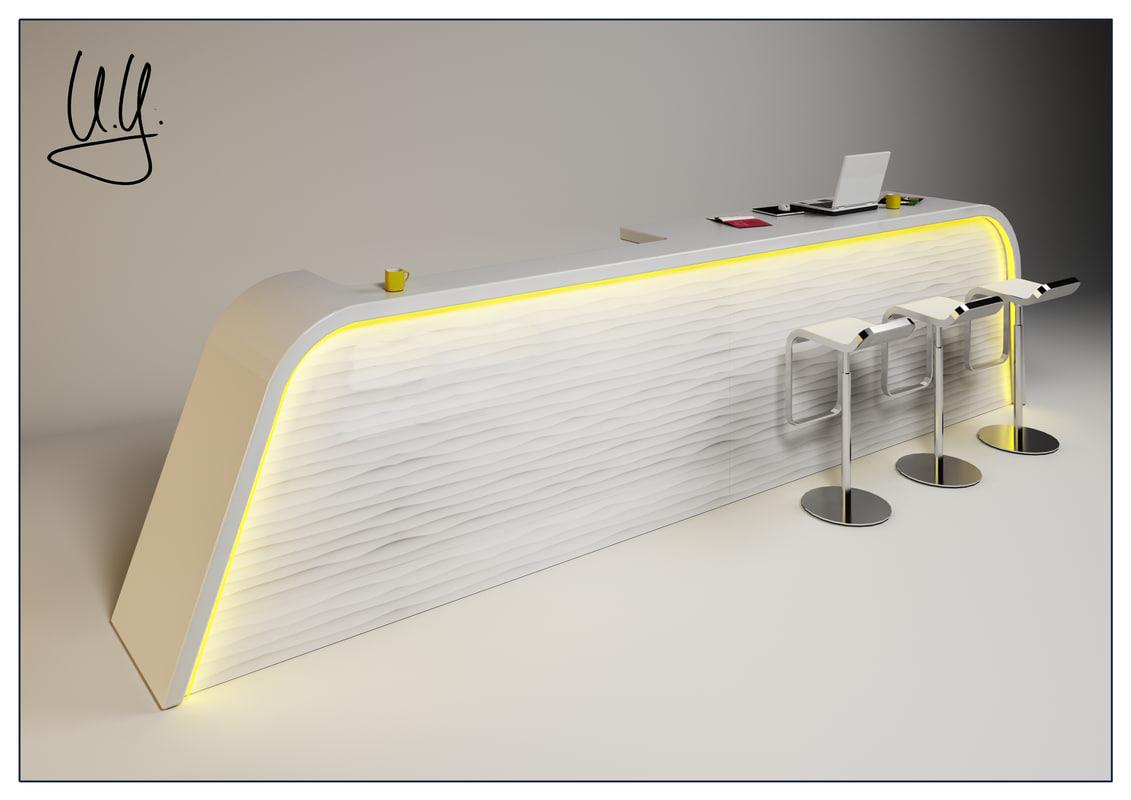 3d complete scene counter desk