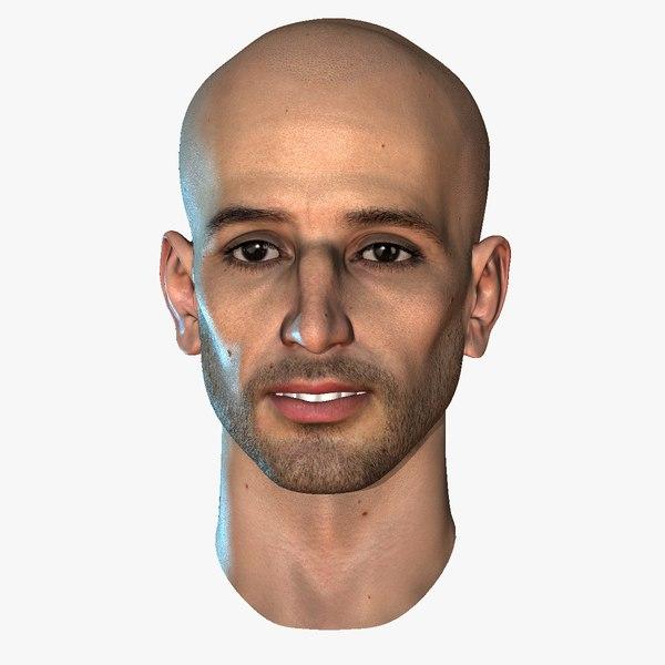 hairless male head 12 3d max