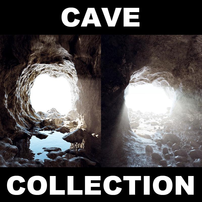 cave rock stones 3d model