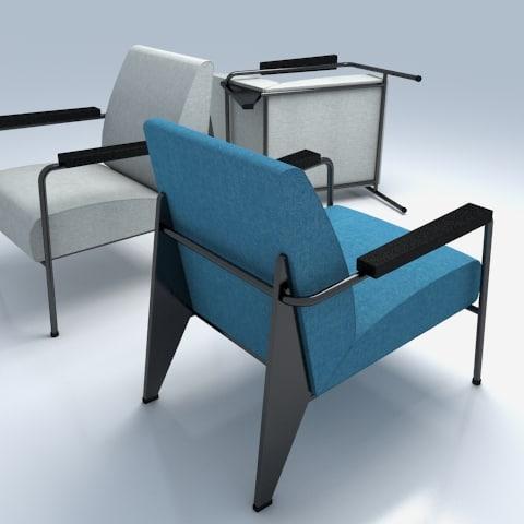 3d model fauteuil salon vitra arm chair - Fauteuil original salon ...