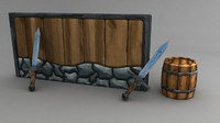 3ds max cartoony wall barrel sword