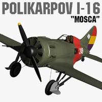 polikarpov i-16 mosca 3d max