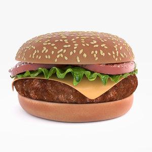 3d model hamburger patty displacement