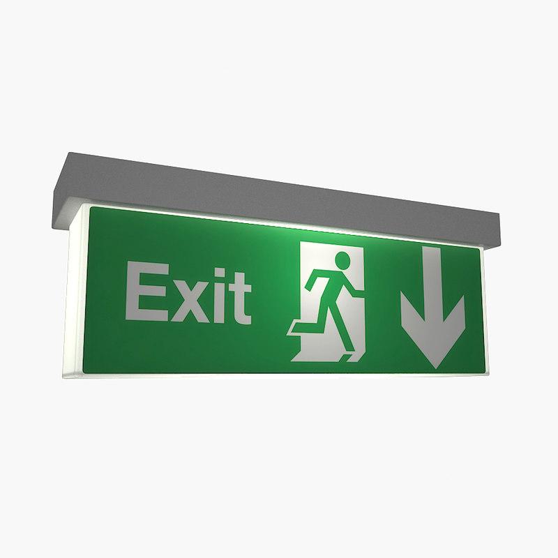 emergency exit sign light 3d model