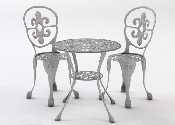 bistro table chair set 3d model