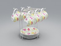 tea set 3d obj