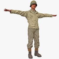 american wwii infantry soldier 3d model