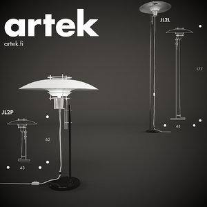floor jl2l artek lamp 3d model