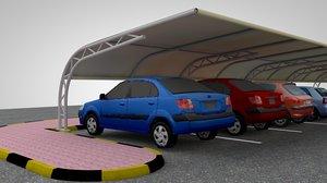 3d car parking shade model