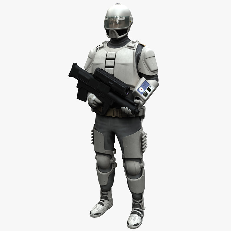 3d model of futuristic army soldier pose