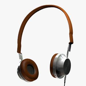 headphones leather steel 3d model
