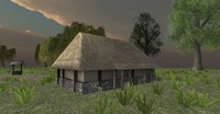 wooden hut medieval fantasy 3d 3ds