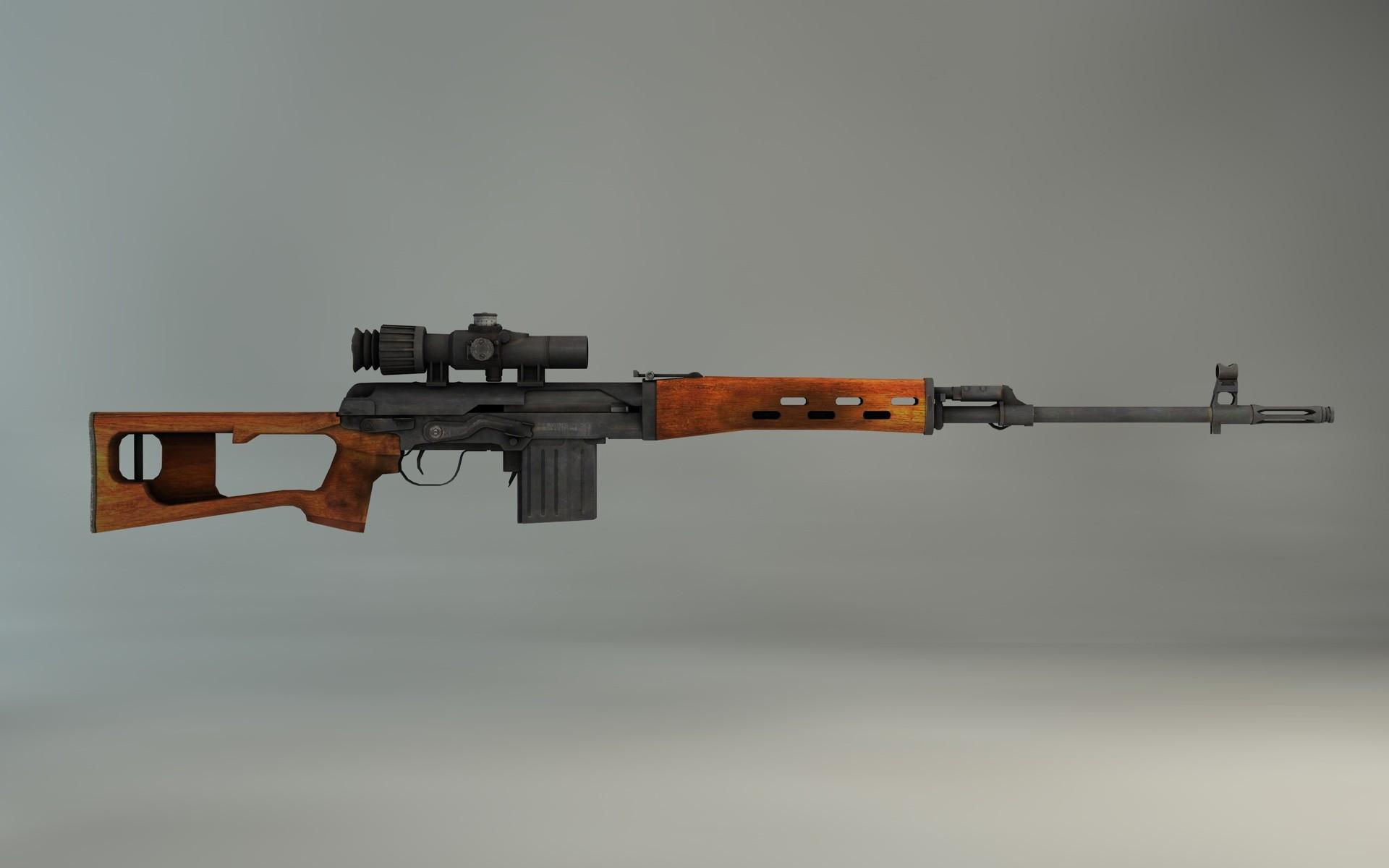 svd sniper rifle 3d c4d