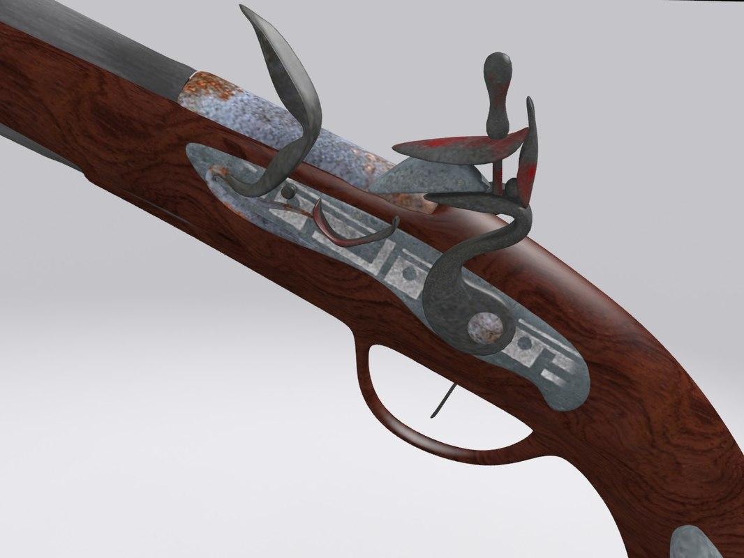3d model old gun pistol