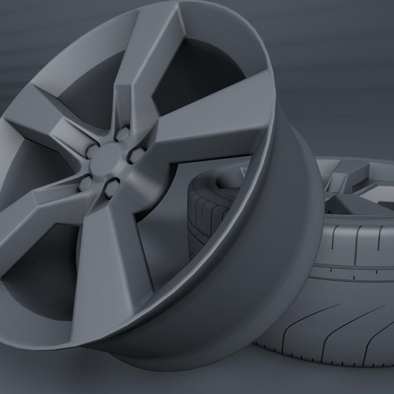 3d camaro wheel tire model