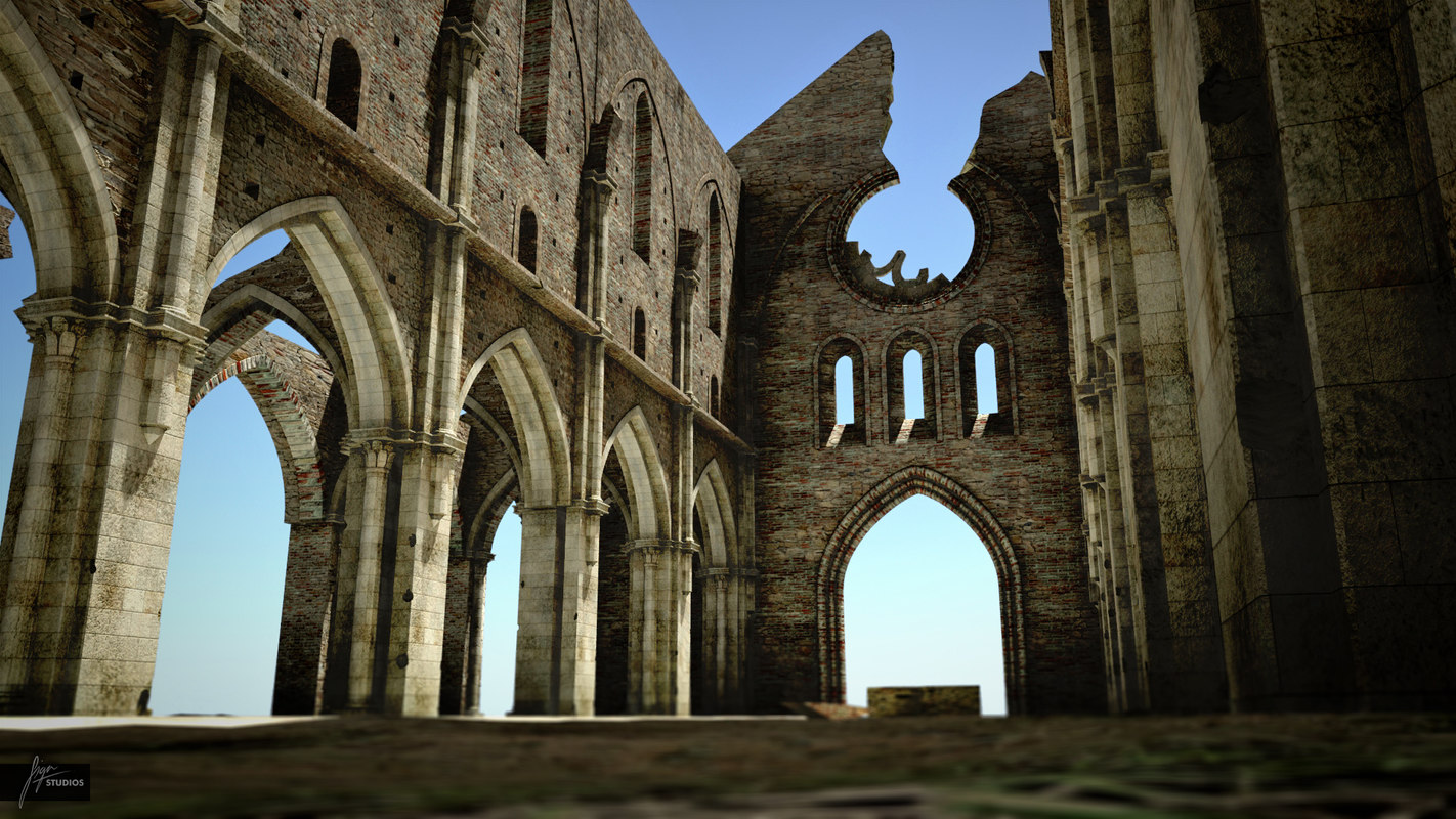 ruin cathedral roofless san 3ds